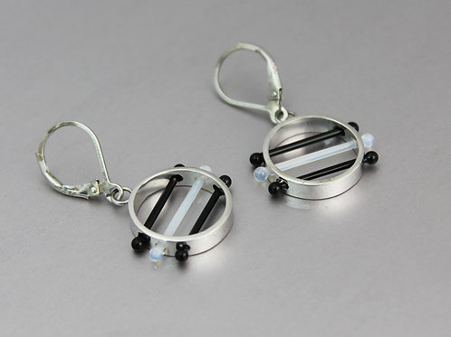 Glass Circle Earrings in Black and White