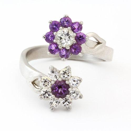 Adjustable Amethyst Flower Ring