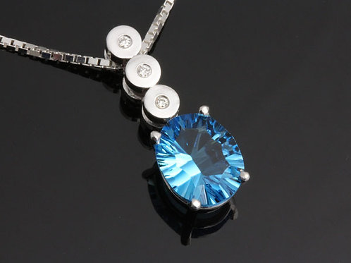 Blue Topaz and Diamond Drop Pendant