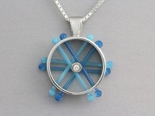 Glass Wheel Pendant with Diamond
