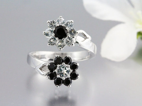 Onyx and White Topaz Flower Ring