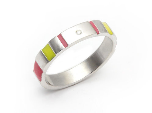 Silver Diamond Stacking Ring in Pink and Yellow