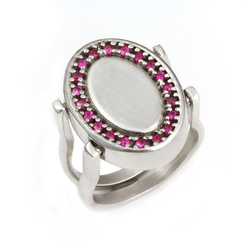 Reversible Diamond and Pink Sapphire Ring