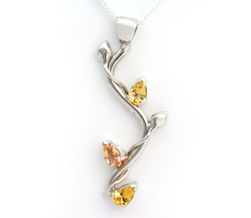 Golden topaz branch pendant nellmarie jewelry handmade jewelry this pendant is rhodium plated sterling silver it features 3 natural precious golden topaz pears approx 18ct tw the pendant hangs approximately 15 aloadofball Images