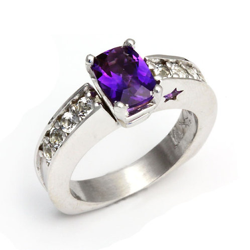 Cushion-Cut Amethyst Ring with Star Cut