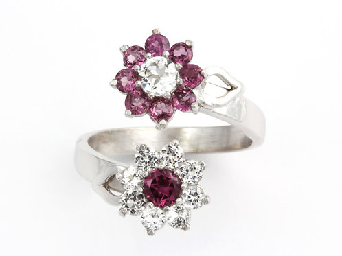 Adjustable Rhodolite Garnet Flower Ring