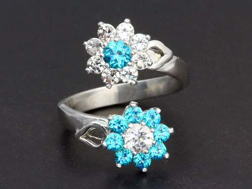 Paraiba Blue Topaz Flower Ring