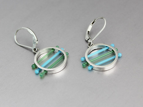 Glass Circle Earrings in Blue and Green