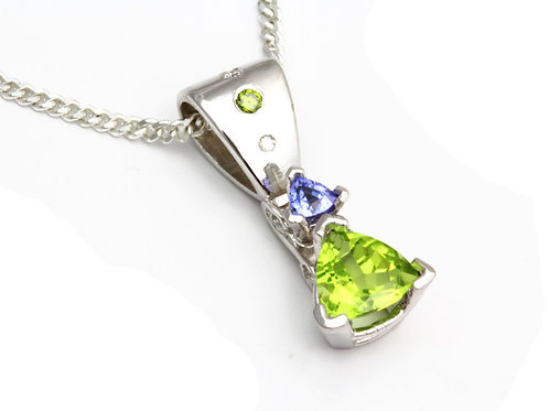 Peridot and Tanzanite Trillion Pendant