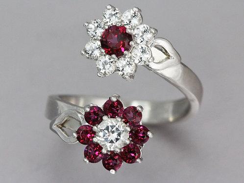Red Topaz Flower Ring