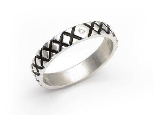 Silver Diamond Stacking Ring in Black Enamel