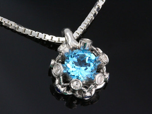 Blue Topaz and Sapphire Cluster Pendant