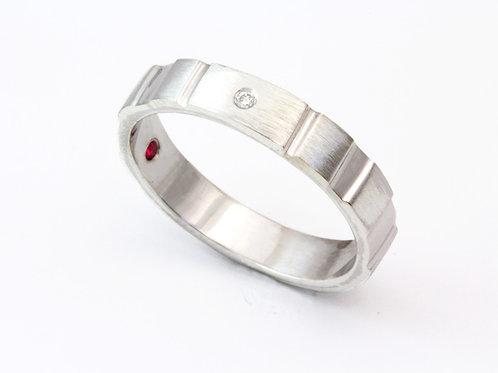 Silver Diamond Stacking Ring