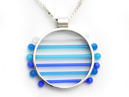 Glass Circle Pendant in Blue and White