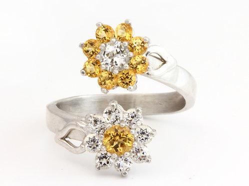 Yellow Topaz Flower Ring