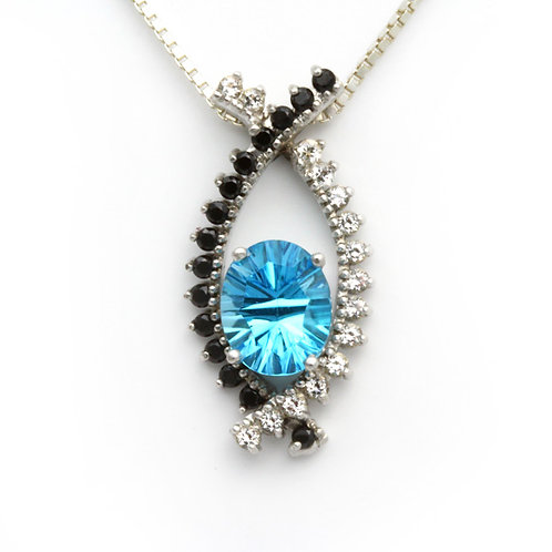 Blue Topaz and Black Spinel Pendant