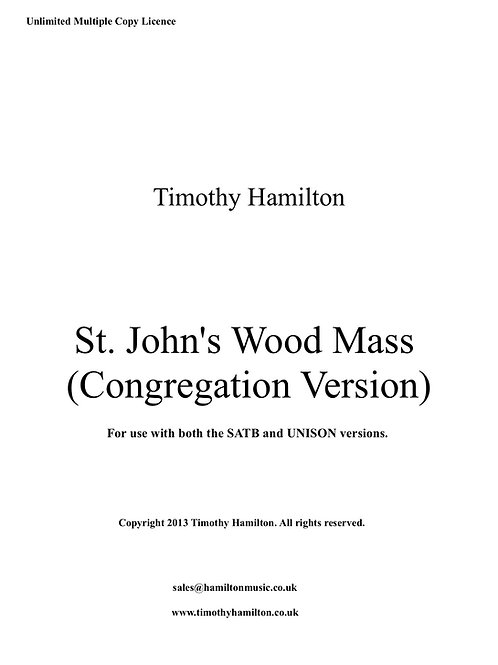 St. John's Wood Mass Congregation (Unlimited Copies PDF Download)