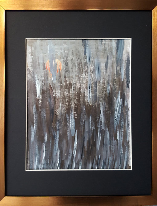 Painting on paper framed, original acrylic artwork, landscape