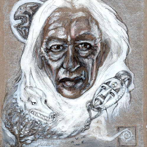 One of a kind, original hand- made art, Elder portrait, silver