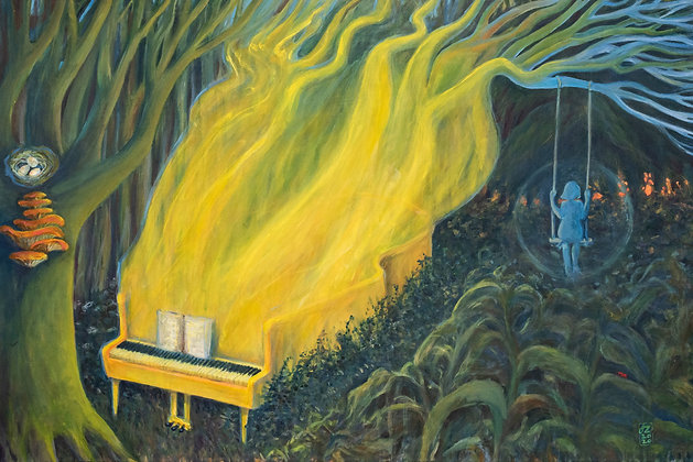 Pint on canvas, surreal landscape, forest, dreamy landscape with yellow piano