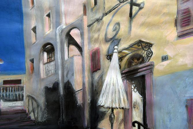 Street in Corte, mixed media painting * Uliczka w Corte