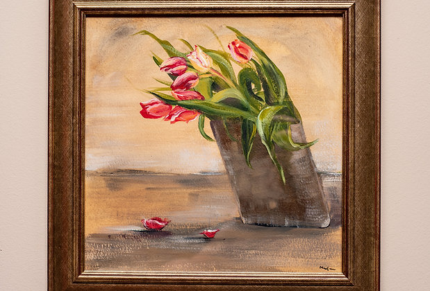 Acrylic painting on paper, original artwork, hand-painted, framed art