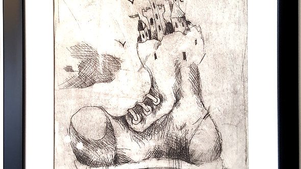 Drypoint, etching , press print on paper, original graphic, illustration