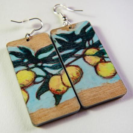handpainted wooden earrings