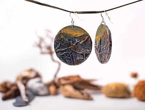 Hand made, wooden, circle earrings, sterling silver earrings hooks
