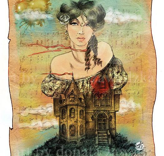 Framed poster, giclée print, vintage style illustration, romantic graphic, music