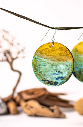 Ancient sea - Hand painted, wooden, two sided, circle earrings, one of a kind