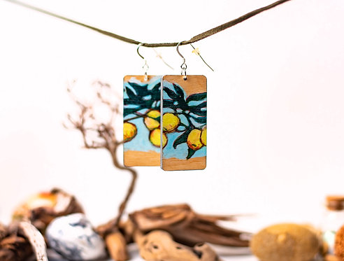 Hand painted wooden rectangular earrings one of a kind jewellery !