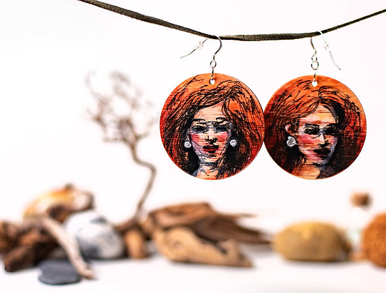 Hand painted, wooden, circle earrings, one of a kind, jewellery