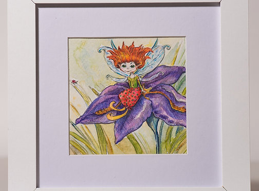 Watercolour mini fairy on the iris flower