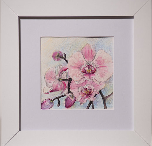 Watercolour mini pink orchid, little standing/hanging framed art