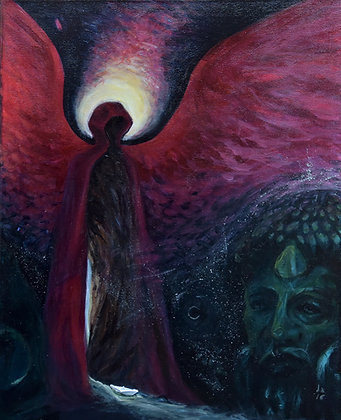 'Omen'-Painting on canvas, original acrylic artwork, surreal