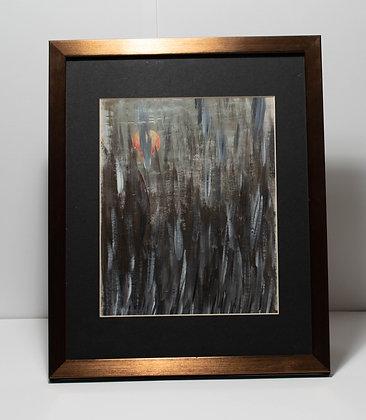 Painting on paper framed, original acrylic artwork, landscape