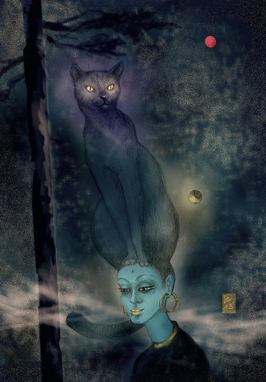 Bastet - Print on canvas, digital artwork by Donata Zawadzka