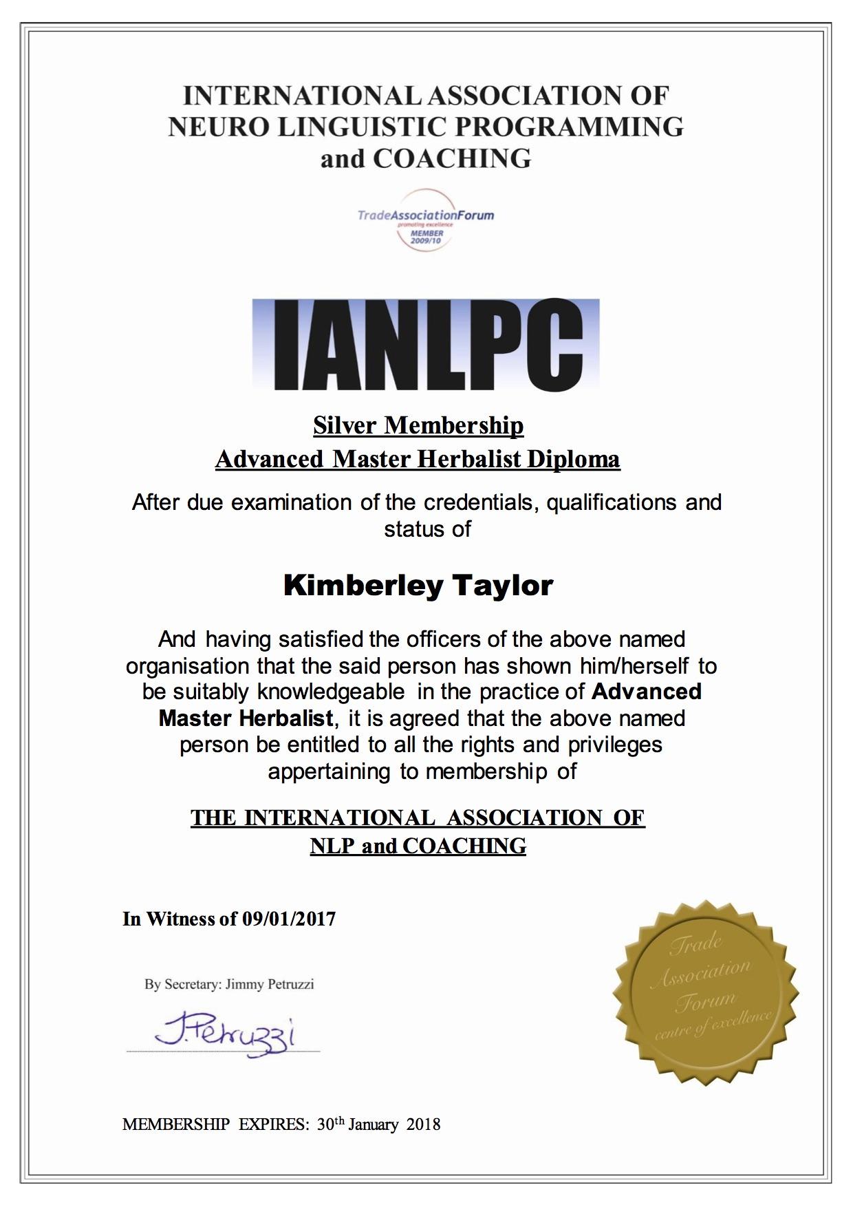 IANLPC Advanced Master Herbalist Diploma Kimberley Taylor
