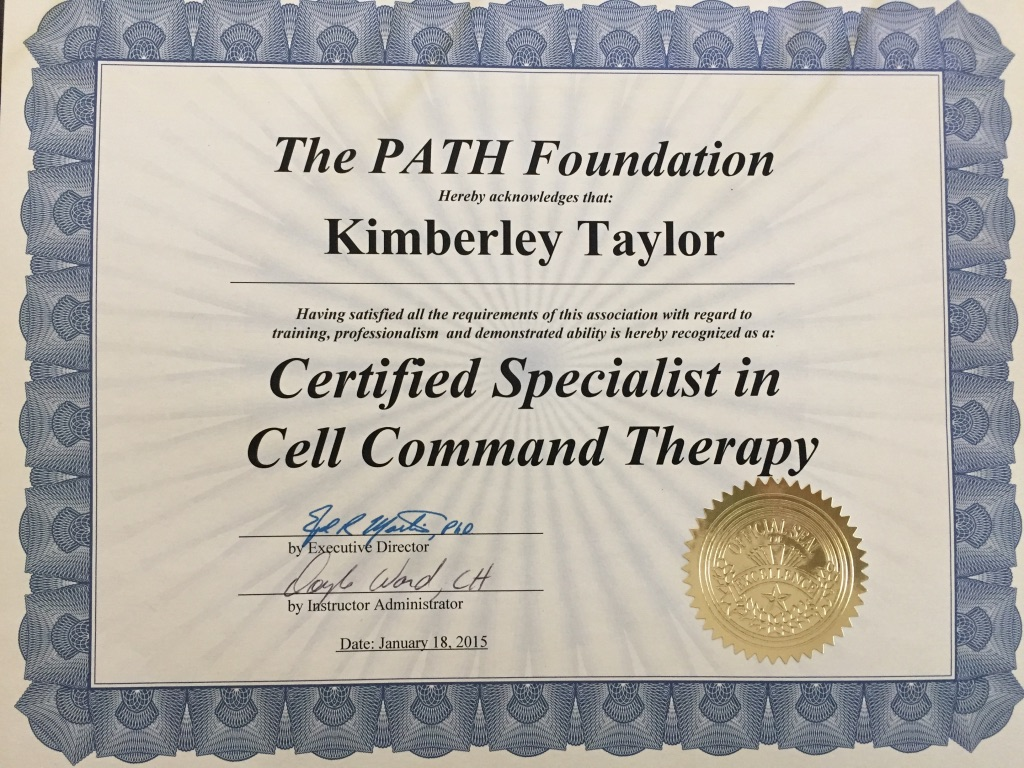 Certified Specialist in Cell Command Therapy