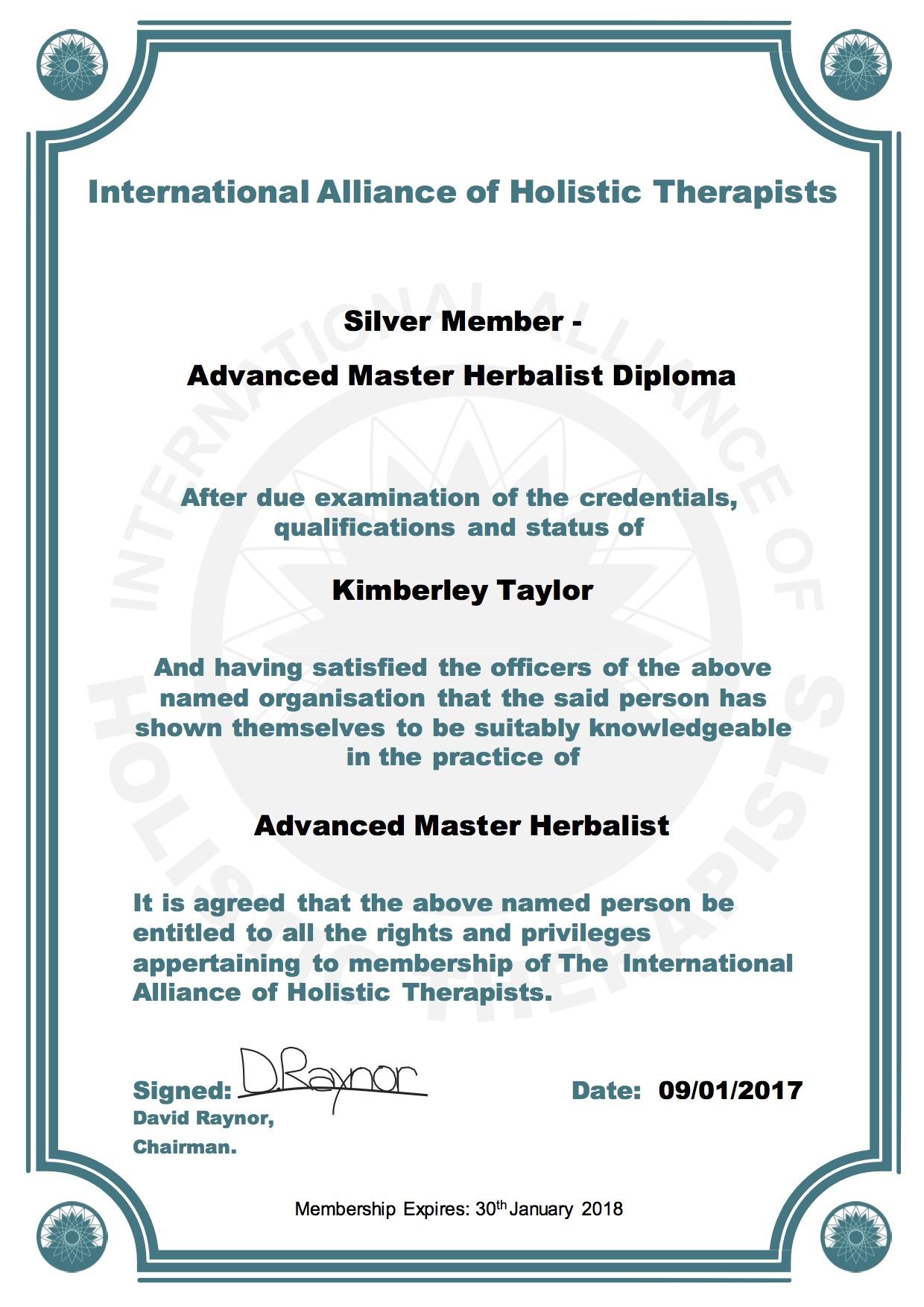 IAHT Silver Member Advanced Master Herbalist Diploma Kimberley Taylor