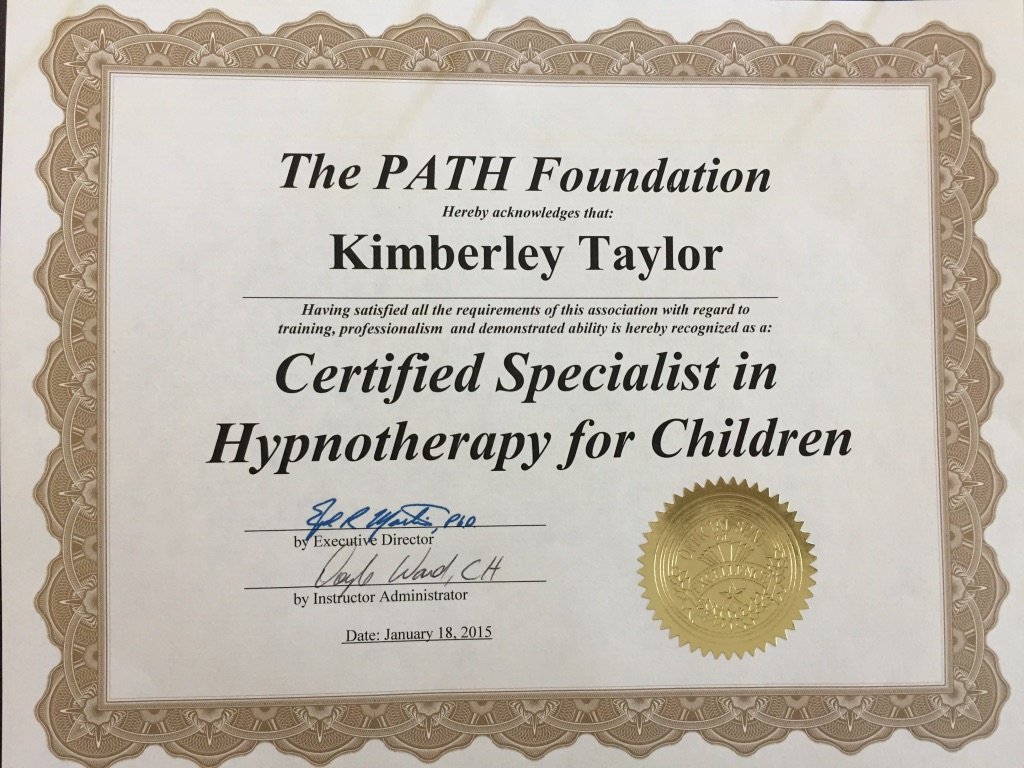 Certified Specialist in Hypnotherapy for Children