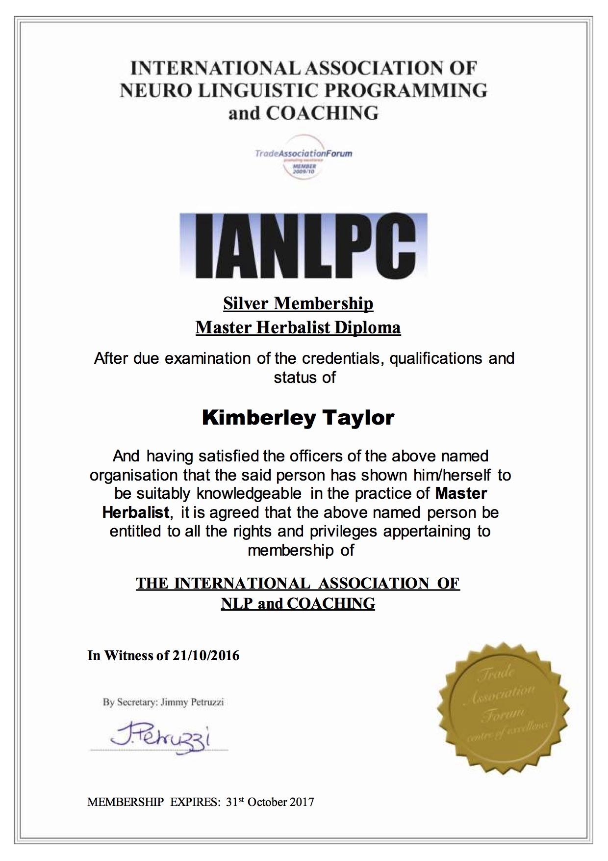 IANLPC_Master_Herbalist_Diploma_Kimberley_Taylor