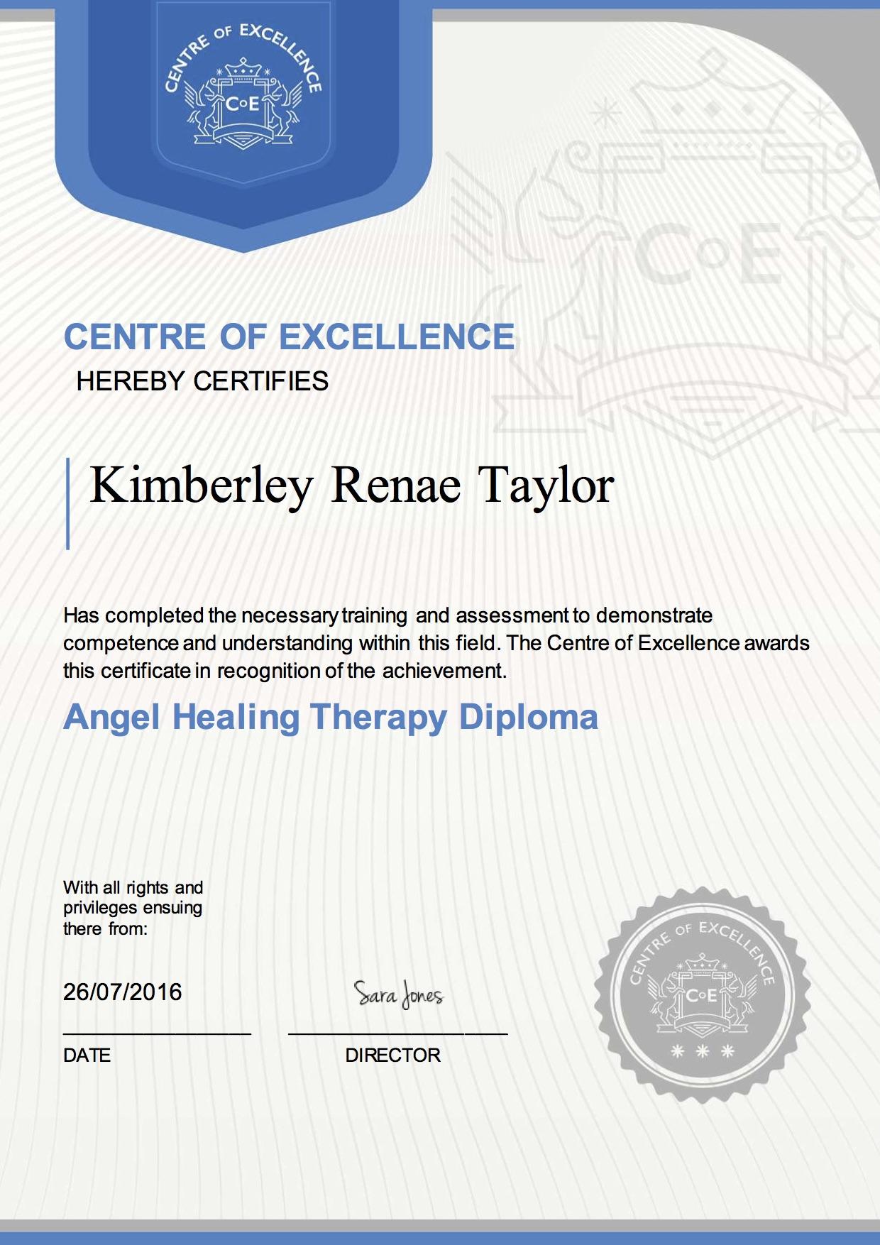 Angel Healing Therapy Diploma Kimberley Renae Taylor