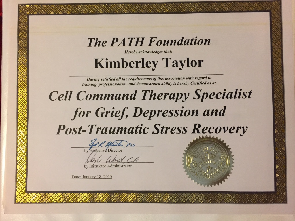 Cell Command Therapy Specialist for Grief Depression and PTS Recovery