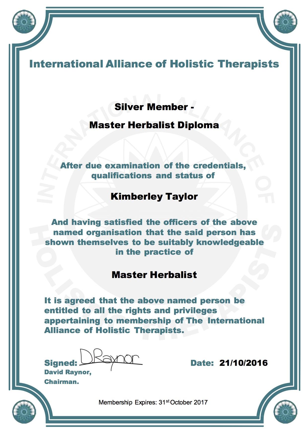IAHT_Silver_Member_Master_Herbalist_Diploma_Kimberley_Taylor