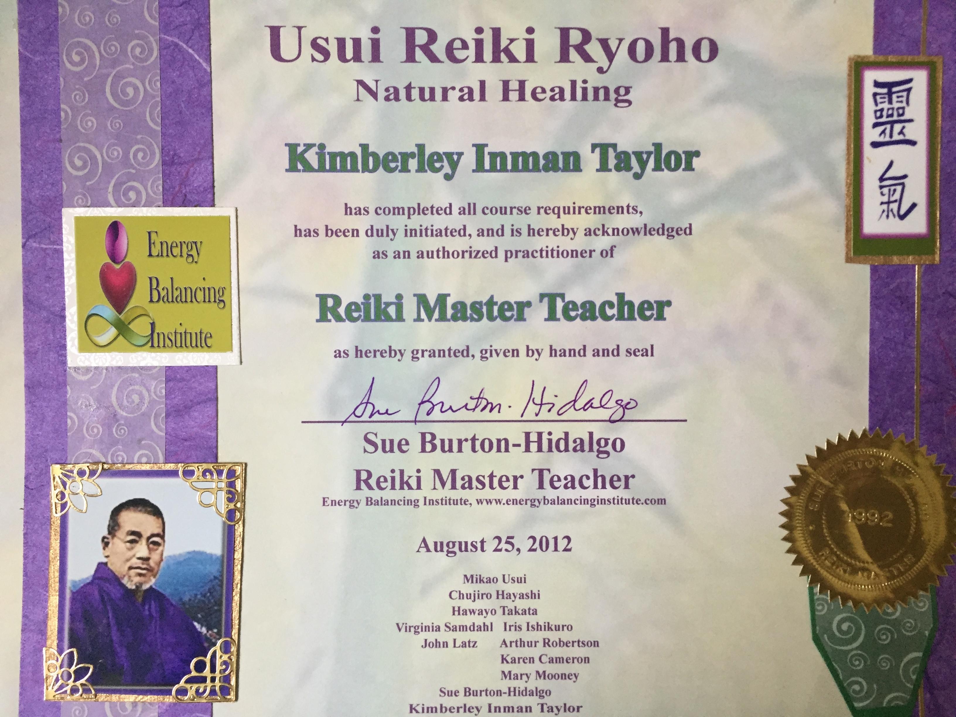 Usui Reiki Ryoho Master Teacher