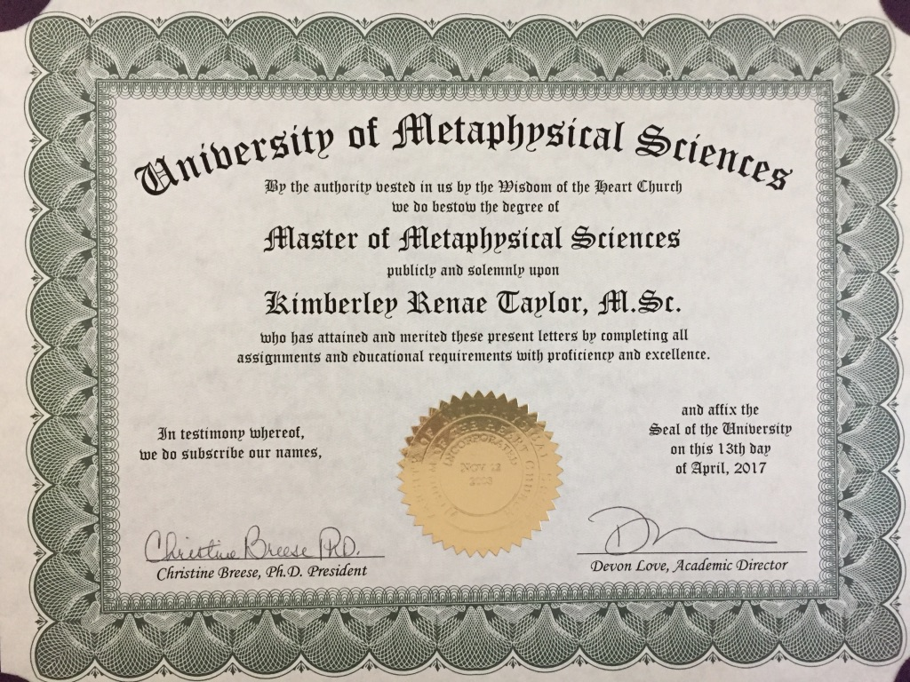 UMS Master of Metaphysical Sciences