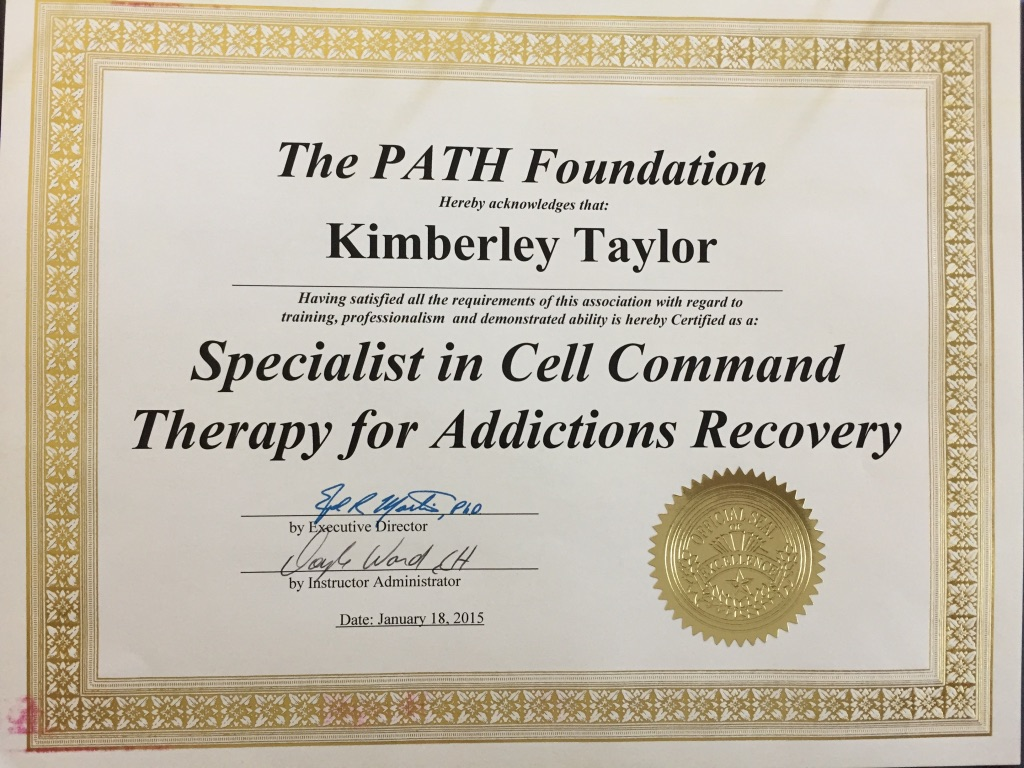 Specialist in Cell Command Therapy for Addictions Recovery