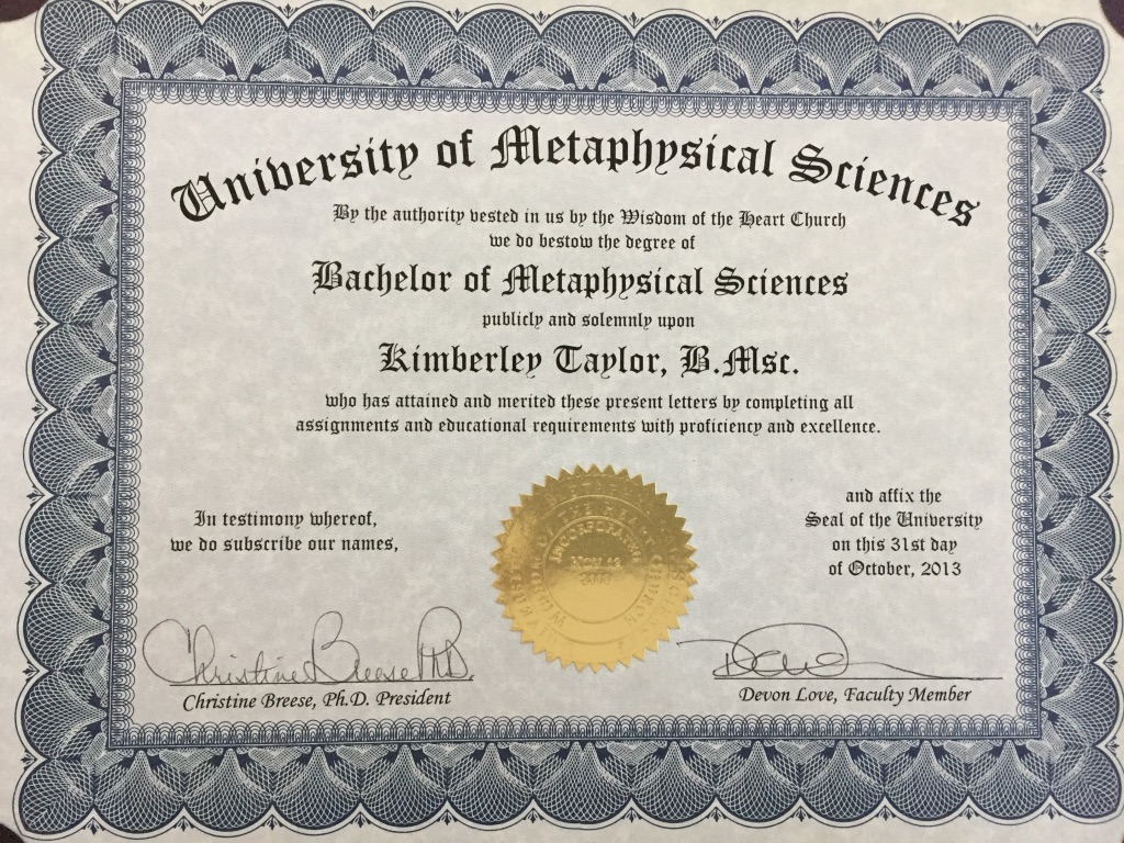 Bachelor of Metaphysical Sciences